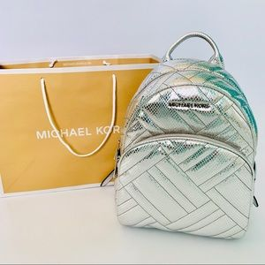 Michael Kors Abbey Silver Quilted Leather Backpack